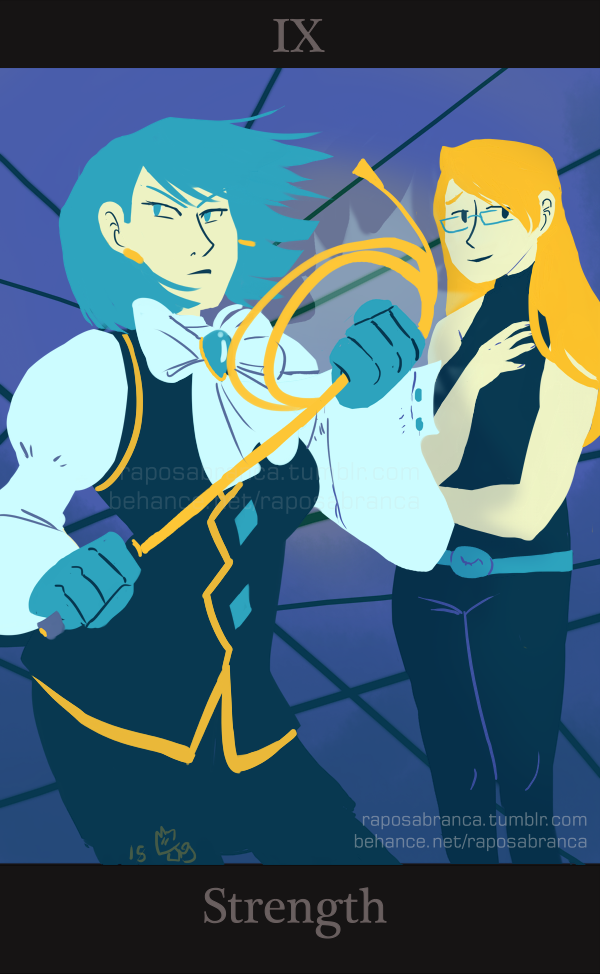 Ace Attorney Tarot Commissions Franziska von Karma (& Adrian Andrews) as Strength for motionwithnosound. Thank you very much!! The title of this card is often misleading because most people tend to think of strength as a property of the physical body. (…) These are cards of ideas, feeling and beliefs; (…) True Strength is fortitude of character, and the ability to not only control the emotions, but to rise above them, and triumph over all out lower impulses and desires. (...