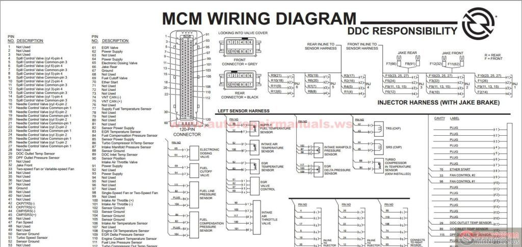 detroit series 60 ecm wiring diagram kenwood stereo amplifier ka 1400b diesel ddec vi mcm egr engine harness schematic to