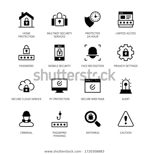 Cyber Security Glyph Icons Vectors Stock Vector Royalty Free 1720308883 Glyph Icon Cyber Security Glyphs