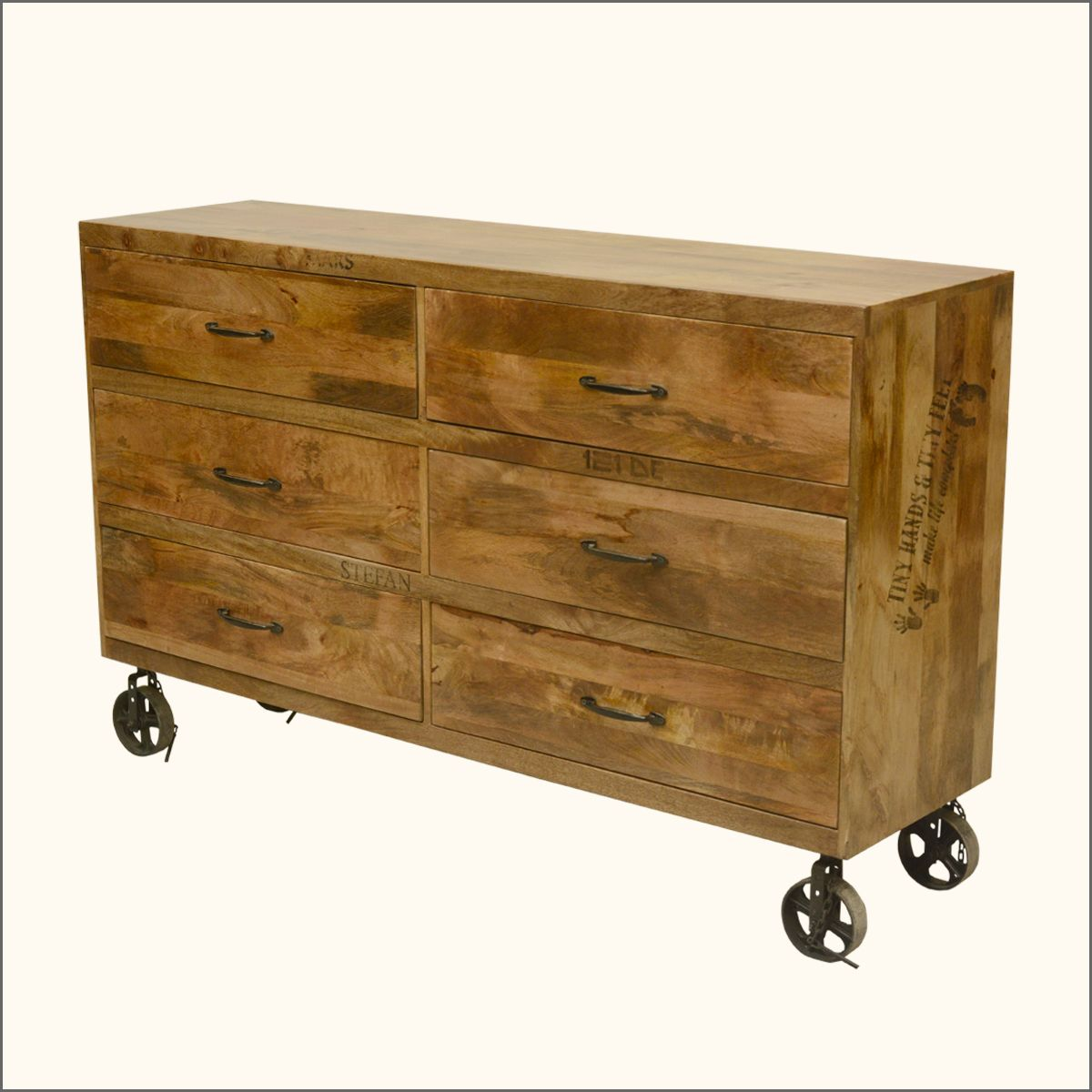 Dallas Solid Wood Factory Cart Style 6 Drawer Double Dresser