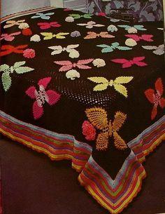 Crochet butterfly bedspread  ♥LCB♥ with diagram. Pretty, ♥ }}{{