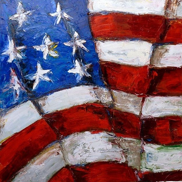 American Flag Oil Painting On Stretched Canvas American Flag Painting Flag Painting Wine And Canvas