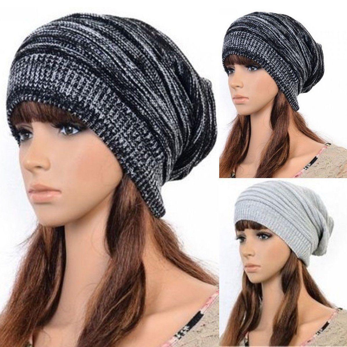 9be30d44001 Winter Women Men Beanie Hat Oversize Slouchy Baggy Unisex Knit Ski Cap Skull