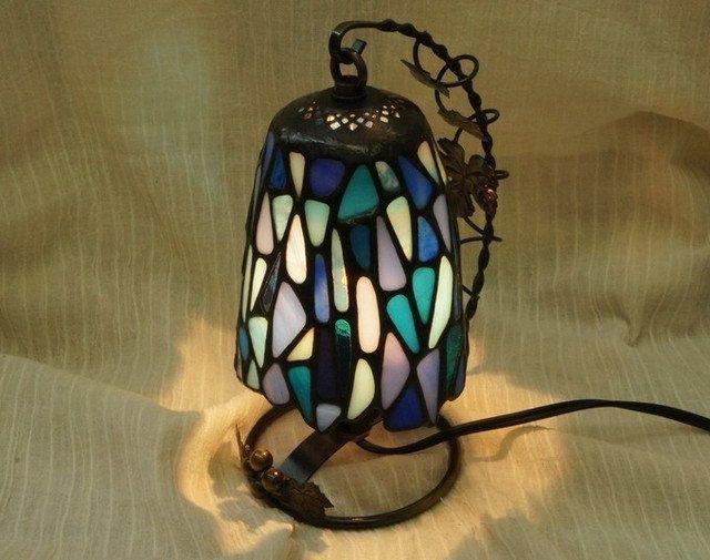 Swing Mosaic Lamp Blue Lantern Interior by SleepingNightOwl on Etsy