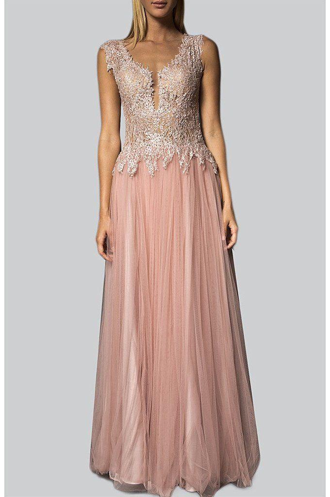 pink pastel embellished deep v lace bodice gown.. at Label Riot