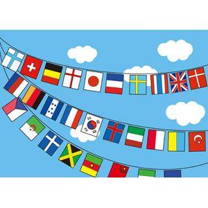フリーイラスト 旗フラッグ 万国旗 年中行事 運動会体育祭