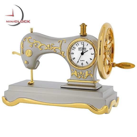 Mini Clock Singer Style Two Tone Antique Sewing Machine Clock
