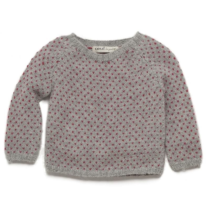 4320f8d6c620 oeuf nyc dots sweater in light grey red