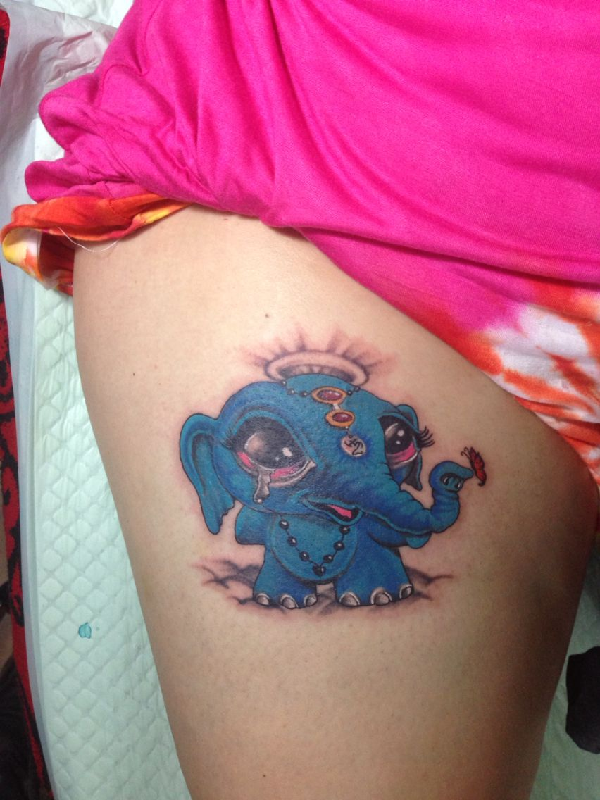 blue baby ganesh tattoo dine by Agung Dana Goerat Tattoo