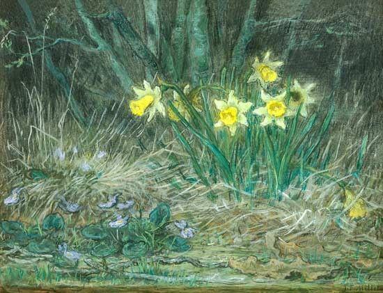 Jean Francois Millet - Nature Morte  Narcisses et Violettes