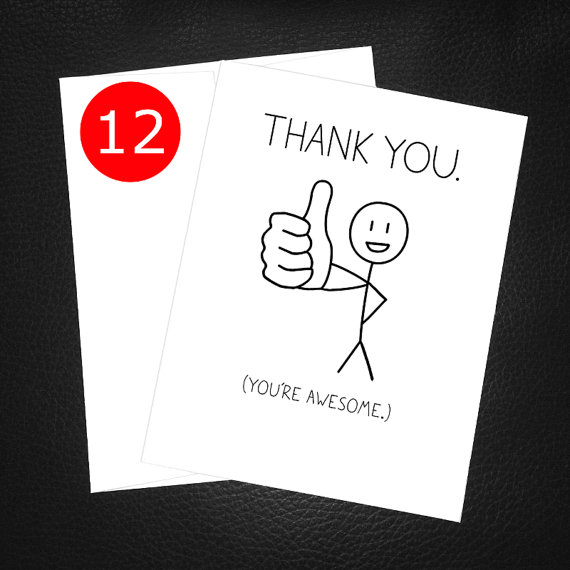 Funny Thank You Card Pack You Re Awesome Thumbs By Pithydiction