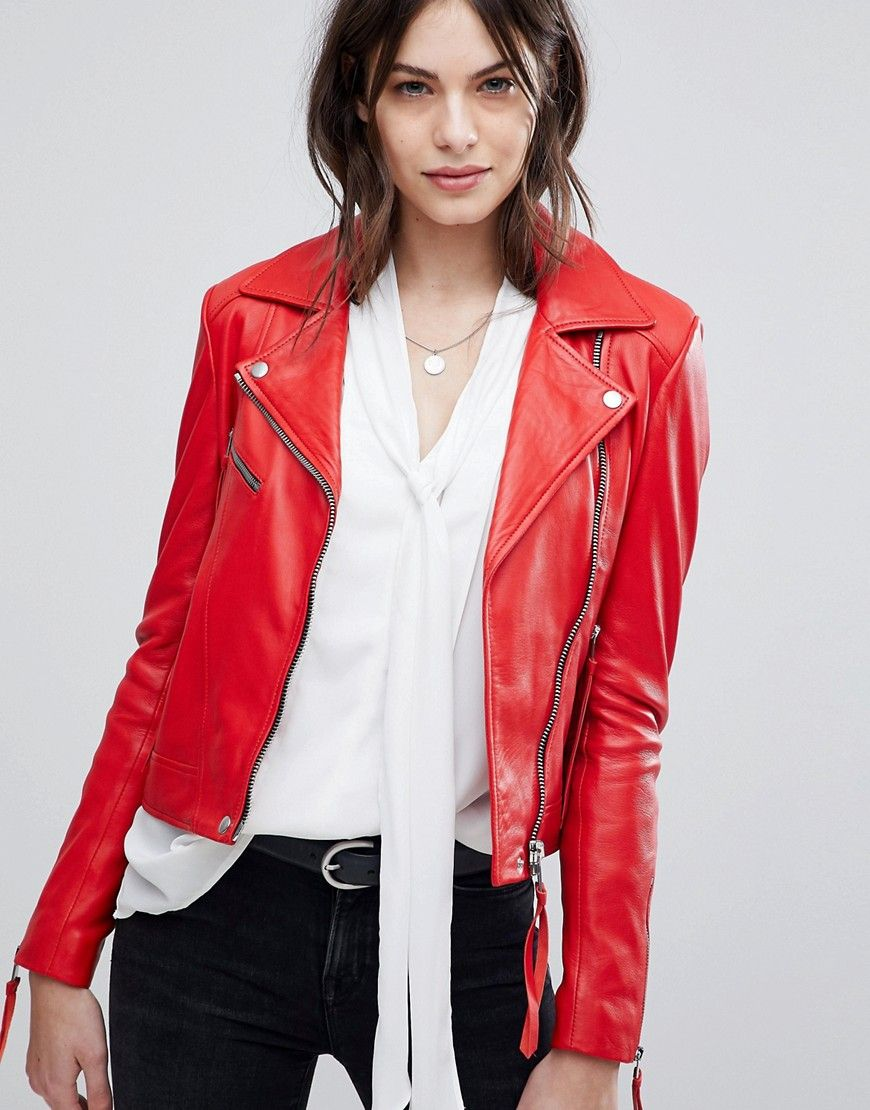Lab Leather Jacket with Asymmetric Zip Red | Lederjacke