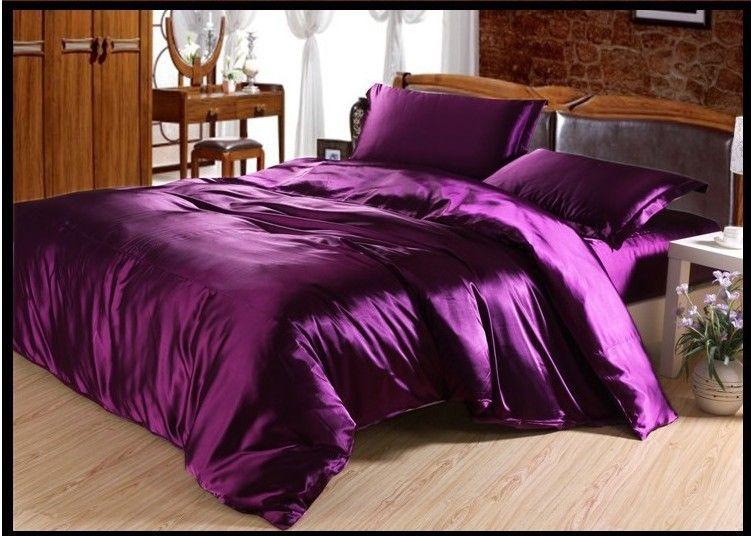 Luxury Purple Natural Mulberry Silk Comforter Bedding Set King Size Queen Full Twin Duvet Cover Bed Sheet Mulfruit Satin Bedding Full Bedding Sets Bedding Sets