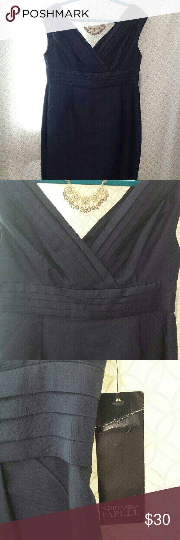 Beautiful Navy Adrianna Papell Cocktail Dress NWT Dress is a 75% silk 25% cotton blend with a flattering V neck on the front and back I  purchased from another posher but sadly it's a little too narrow through the hips :( I'm sad because the dress is just a stunner! Measurements shoulder to hem is 36 inches armpit to armpit is 18 inches hips are 19 inches Adrianna Papell Dresses