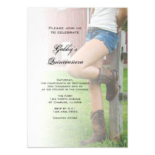 Rustic Barn Party Western Quinceañera Invitation | Zazzle.com #sweet16birthdayparty