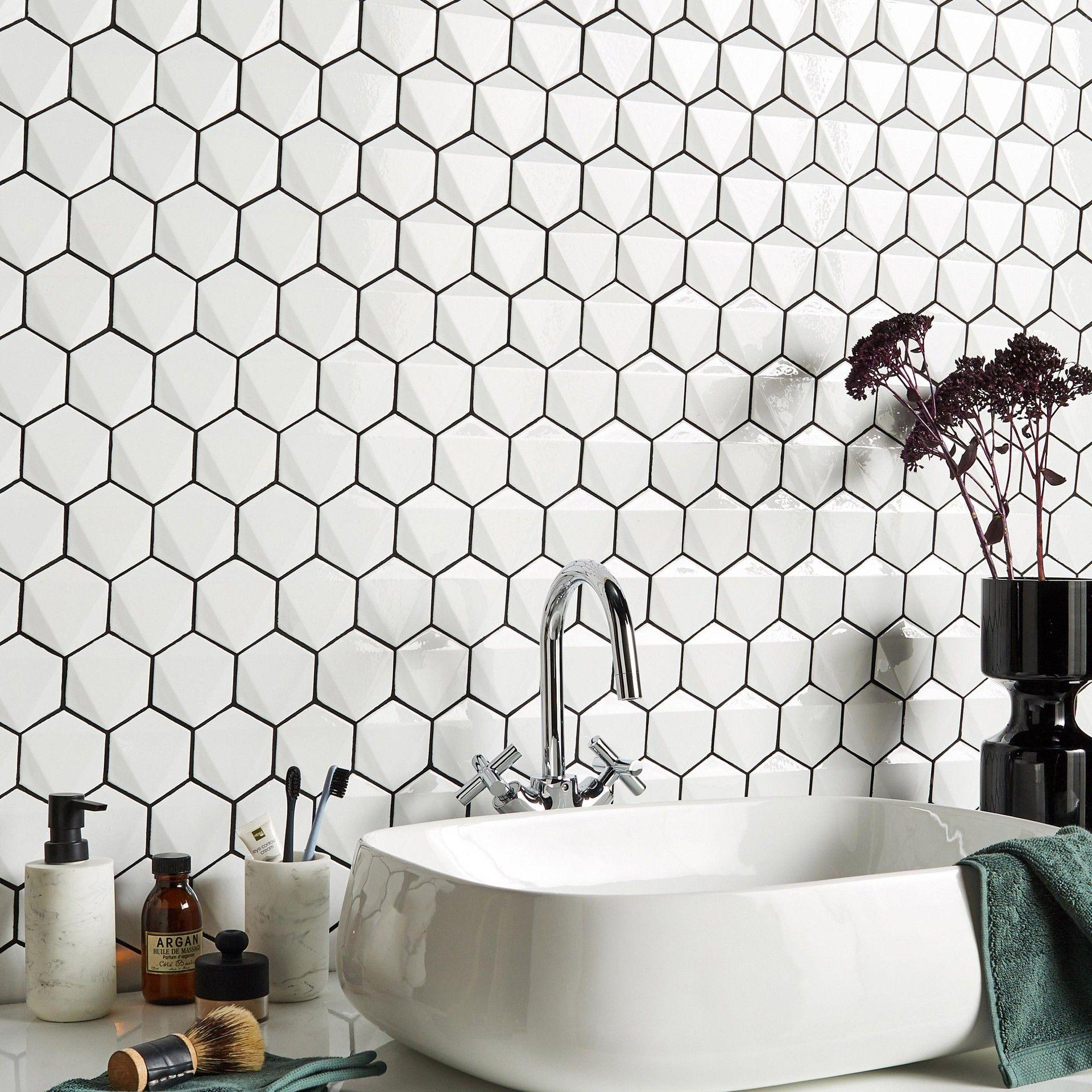 Mosaique Mur Hexagon Blanc 28 5 X 31 2 Cm Artens Agencement
