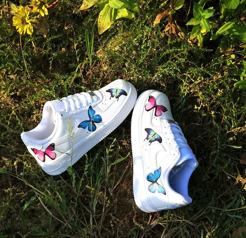 Custom Air Force 1 with 3 Different Butterflies Custom