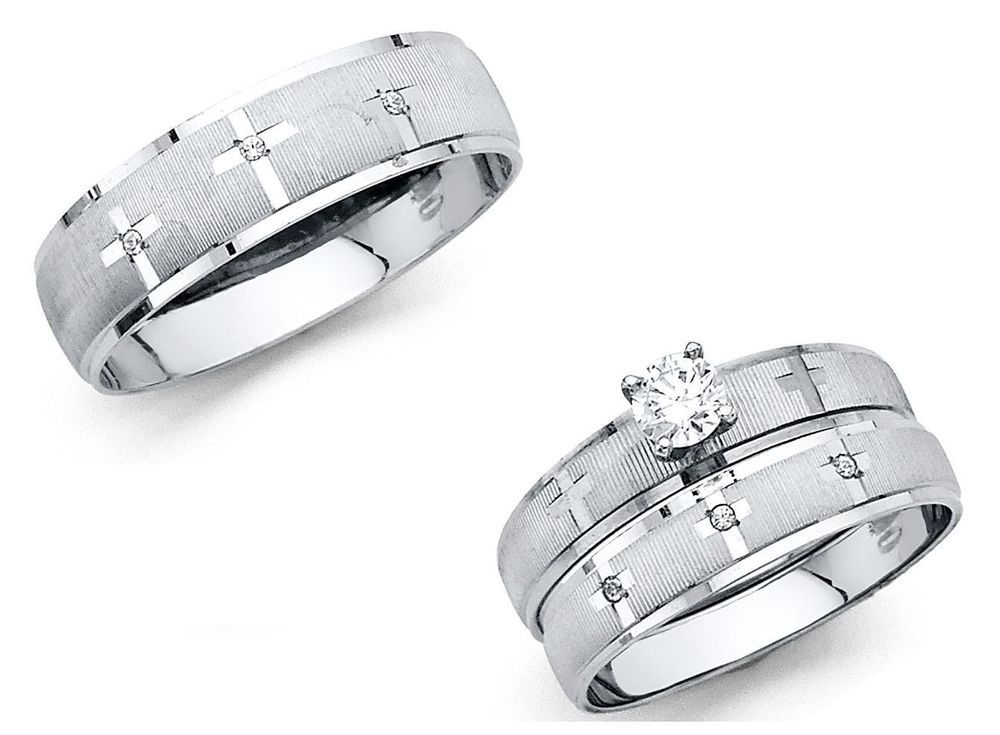 Details About 14k Solid White Gold Cross Wedding Band Bridal