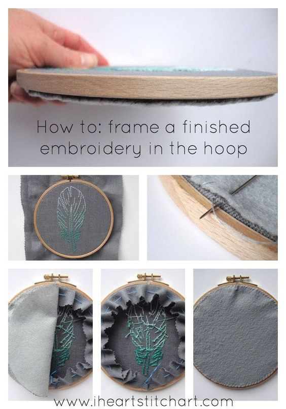How to finish an embroidery hoop: method one. #hobbys