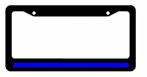 Reflective Thin Blue Line Support Police Black License Plate Frame ...