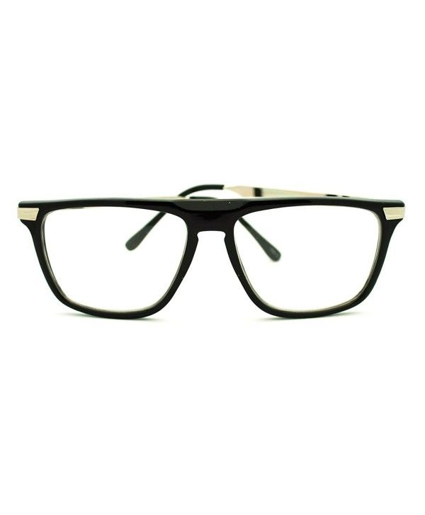 a765a0c500 Clear Lens Glasses Flat Top Fashion Eyeglasses Thin Square Frame ...