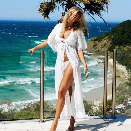 08cca40be3 Swimsuits Bikini Cover Up, Coxeer Sexy Long Lace Decor Chiffon Beach Summer  Dress for Women Girls #laceweddingdresses