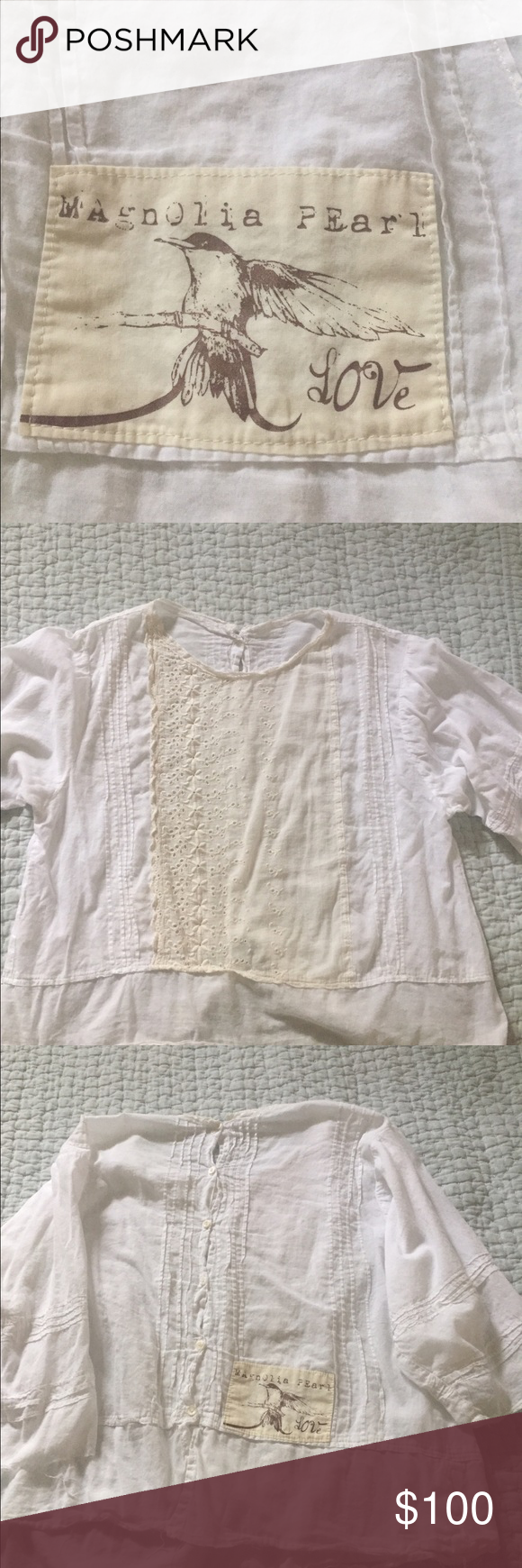 Magnolia Pearl linen blouse in cream Linen blouse great condition no stains worn maybe twice Magnolia Pearl  Tops Blouses