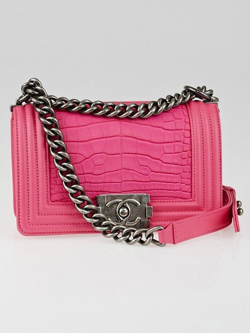 2057822dbf09 Chanel Pink Matte Alligator and Leather Small Boy Bag - Yoogi's Closet  #Chanelhandbags