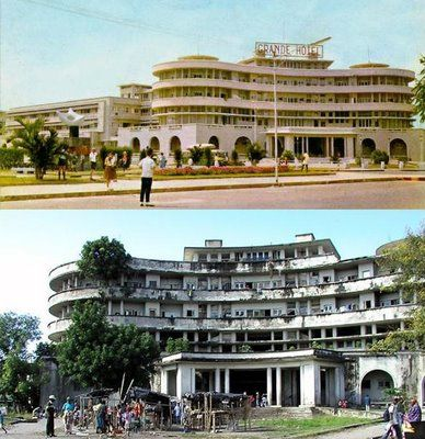 Grande Hotel, Beira, Mozambique, before and after the ...