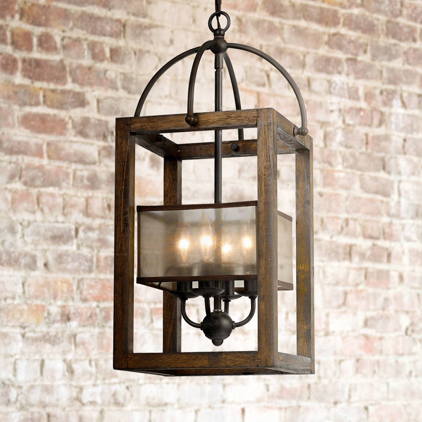 "Harper Wood 12"" Wide Iron Pendant Chandelier"