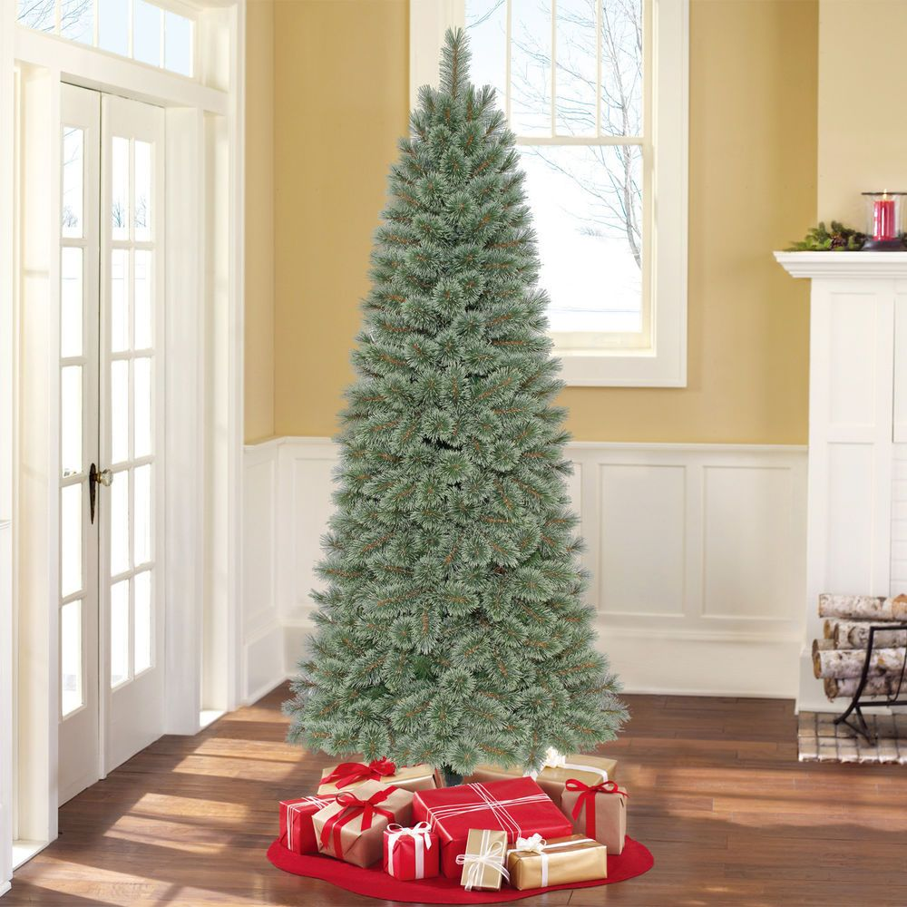 Holiday Time Unlit 7 Branford Spruce Artificial Cashmere Christmas Tree Decor Holidayt Pencil Christmas Tree Christmas Tree Sale Christmas Tree Clear Lights