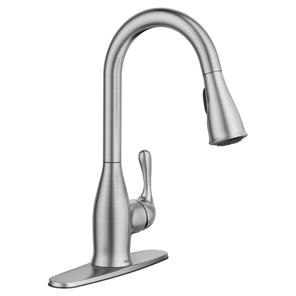 MOEN Kaden Single-Handle Pull-Down Sprayer Kitchen Faucet with ...