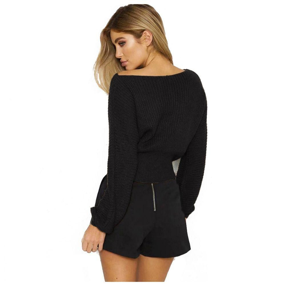 Pullover Waist Bandage Slim Fit Knitted Sweater