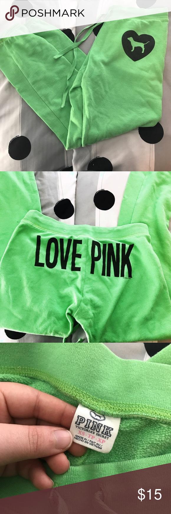 GREEN VS LOVE PINK CAPRI SWEATPANTS Capri sweatpants from Victoria's secret Love Pink PINK Victoria's Secret Pants Capris