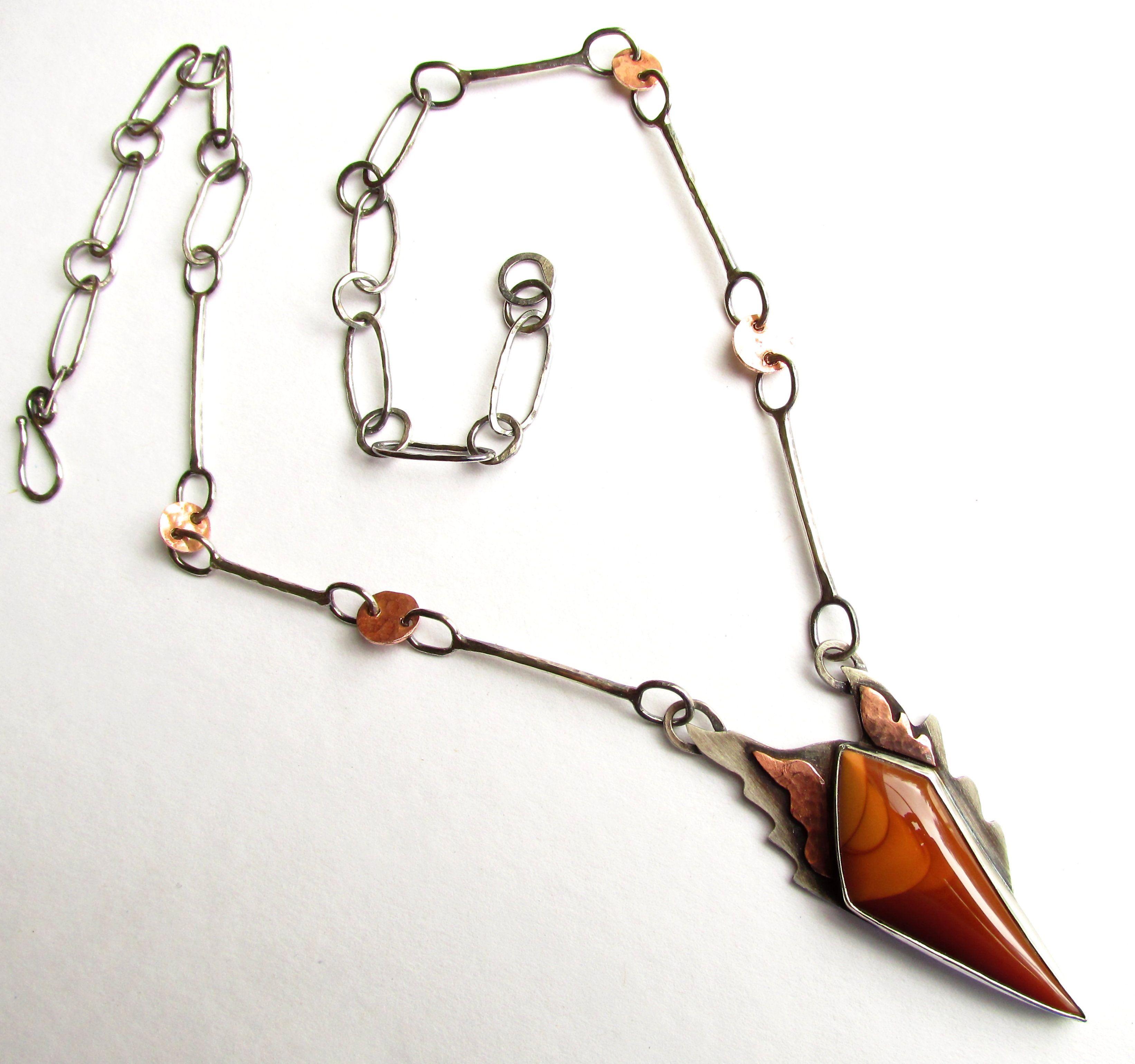 Tree of Life - Sterling Silver - Copper - Necklace Pendant - Bruneau Jasper  metalsmith www.rmddesigns.com