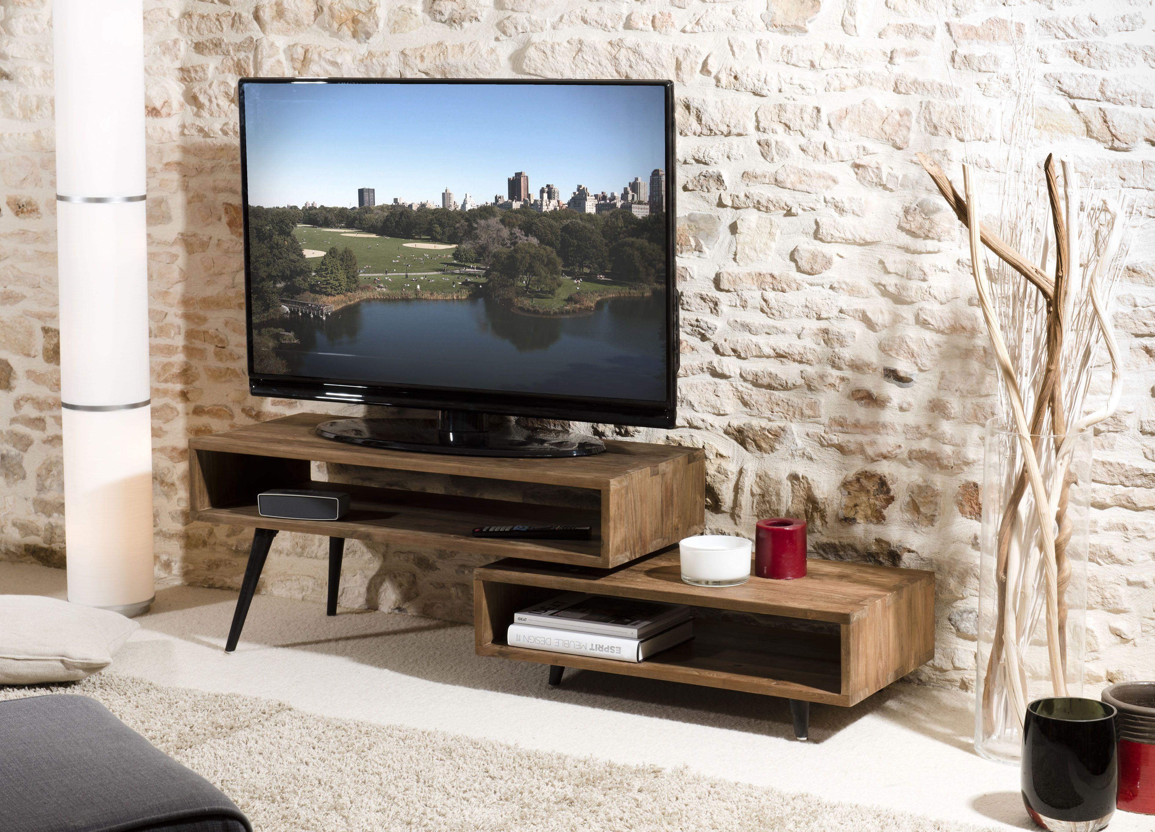 Meuble Tv Contemporain Teck Recycle Swing Meuble Tv Bois Meuble Tv Pivotant Meuble Tv