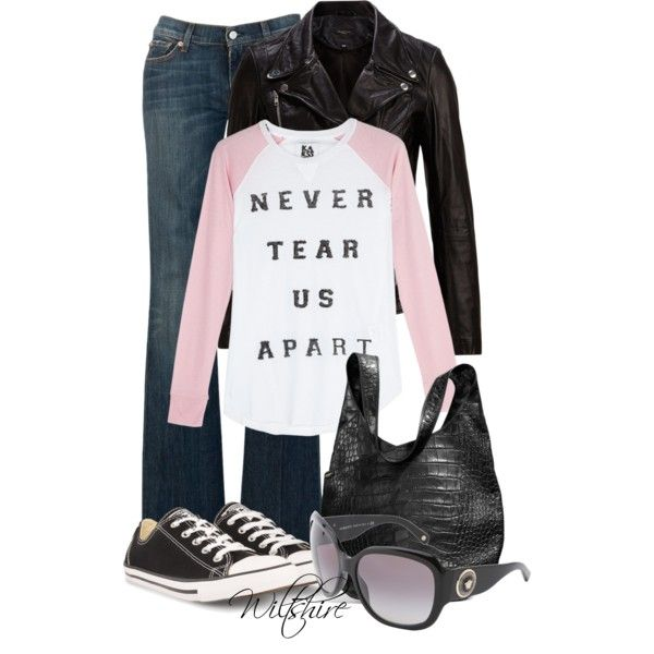 """""""NEVER TEAR US APART~~~ 7 FOR ALL MANKIND CONVERSE & Versace"""" by wiltshirestyle on Polyvore"""