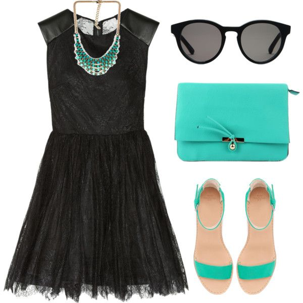 """""""Black & Turquoise"""" by emc1397 on Polyvore"""