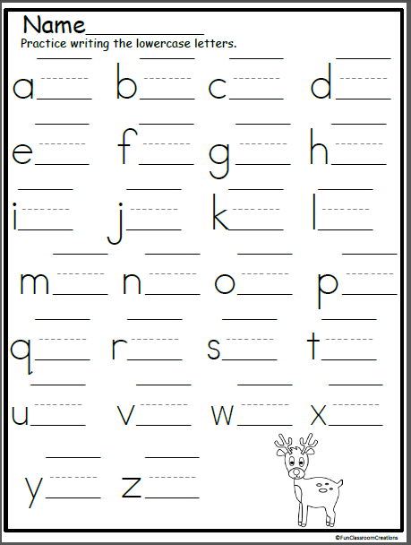 Reindeer Lowercase Letter Writing Practice | Alphabet ...
