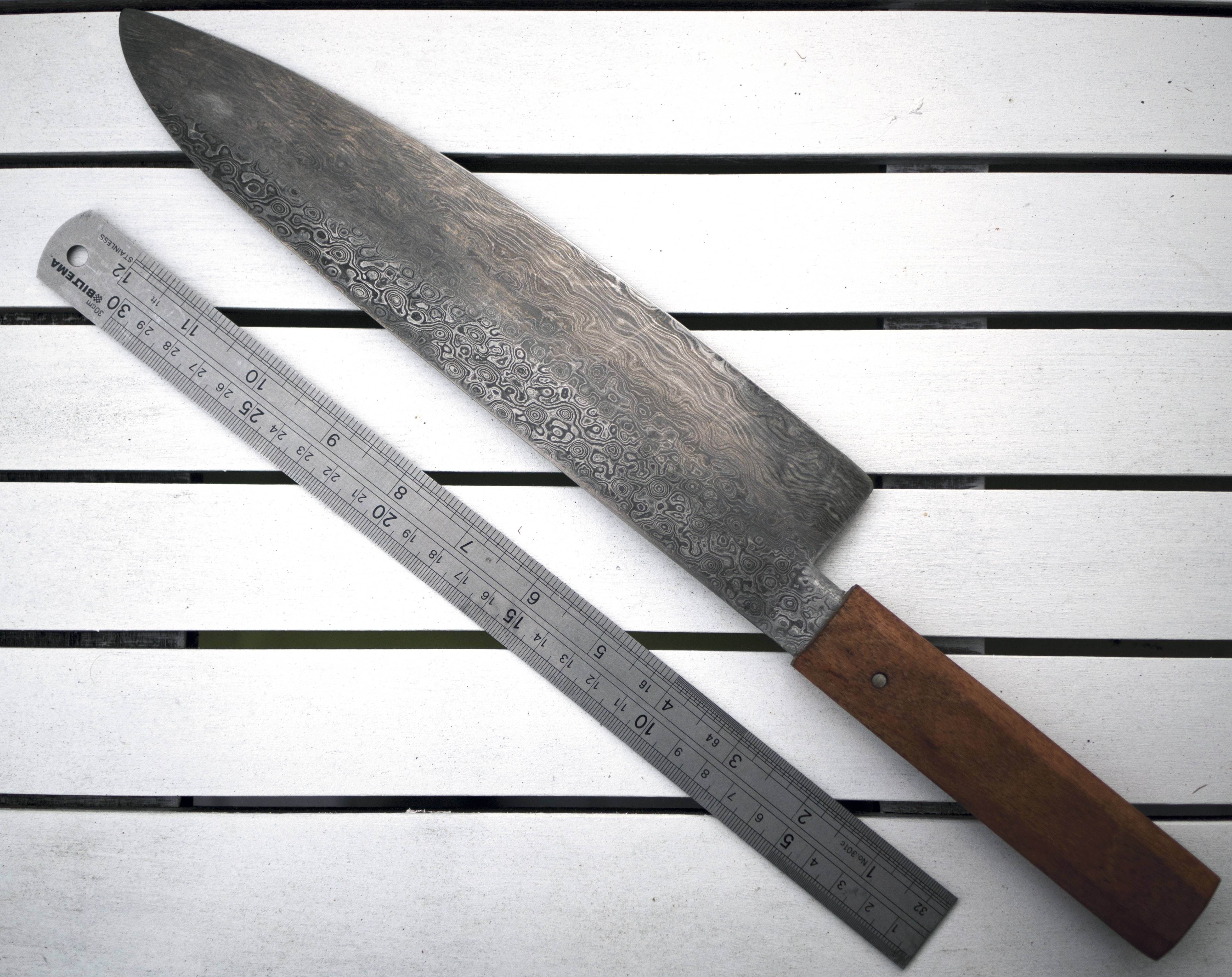 a japanese chefs knife wa gyuto in damascus steel