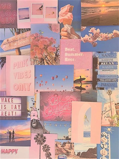 Pretty Peachy Pink Pastel Aesthetic Blue Wall Collage Kit VSCO Vintage Room Decor Large size prints, photos, pictures