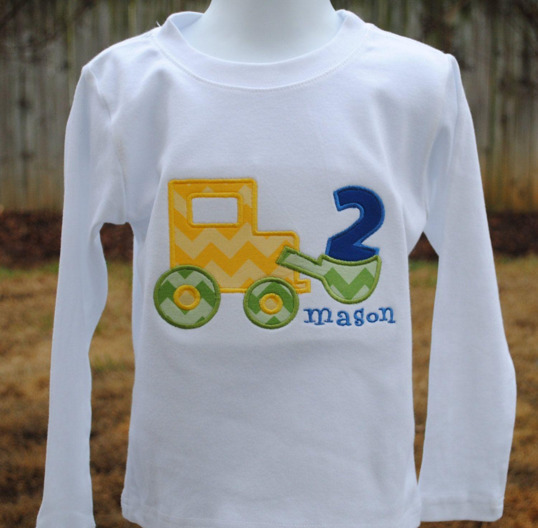 Boys Birthday Shirt With Construction Applique 1400 Via Etsy