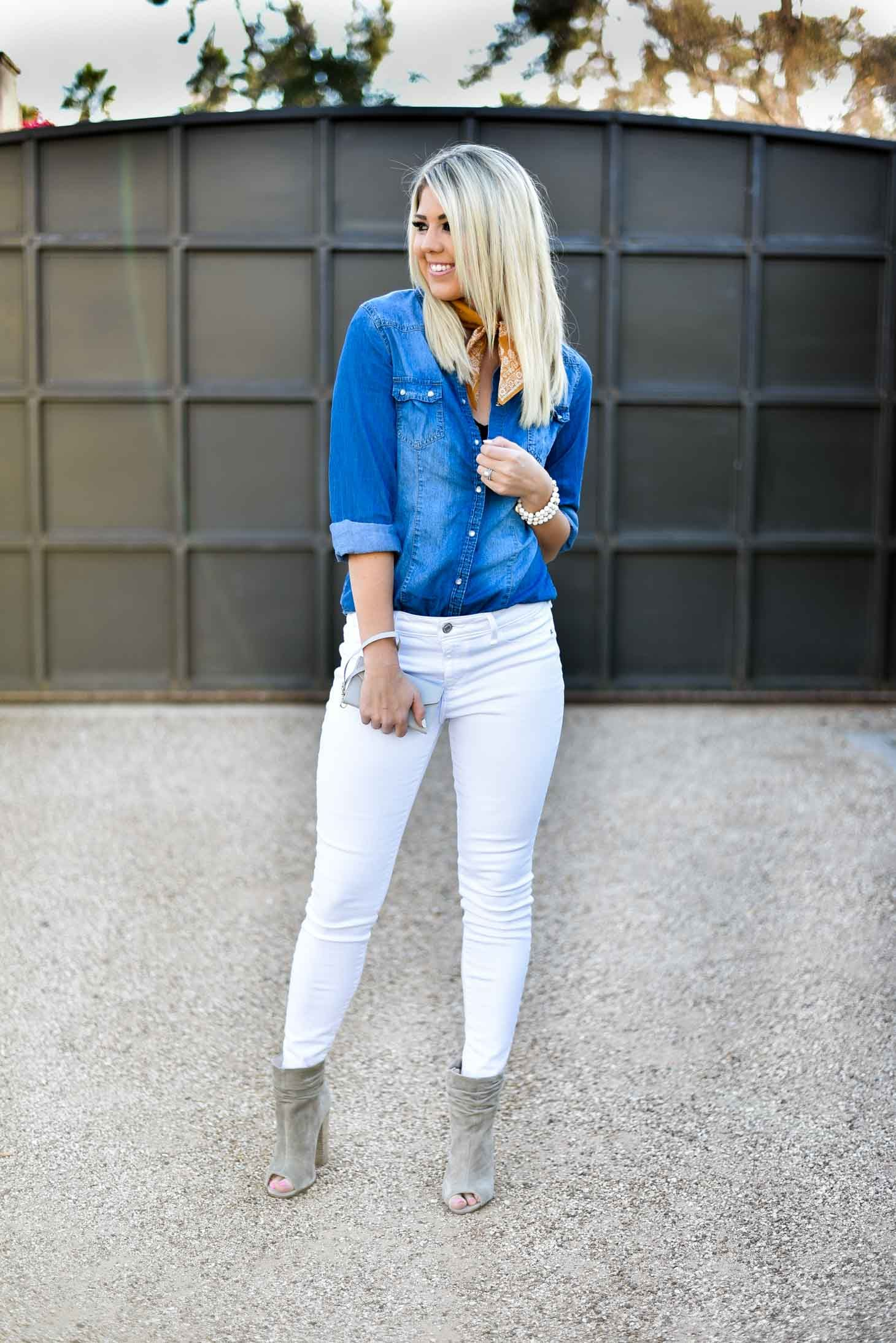 Erin Elizabeth of Wink and a Twirl Spring Style #SpringStyle #SpringLook #SpringOutfit #Chambray #DenimAndWhite