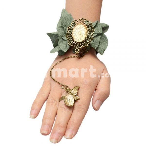 Originality Manual Alloy Lace Bracelet & Butterfly Shape Ring Set