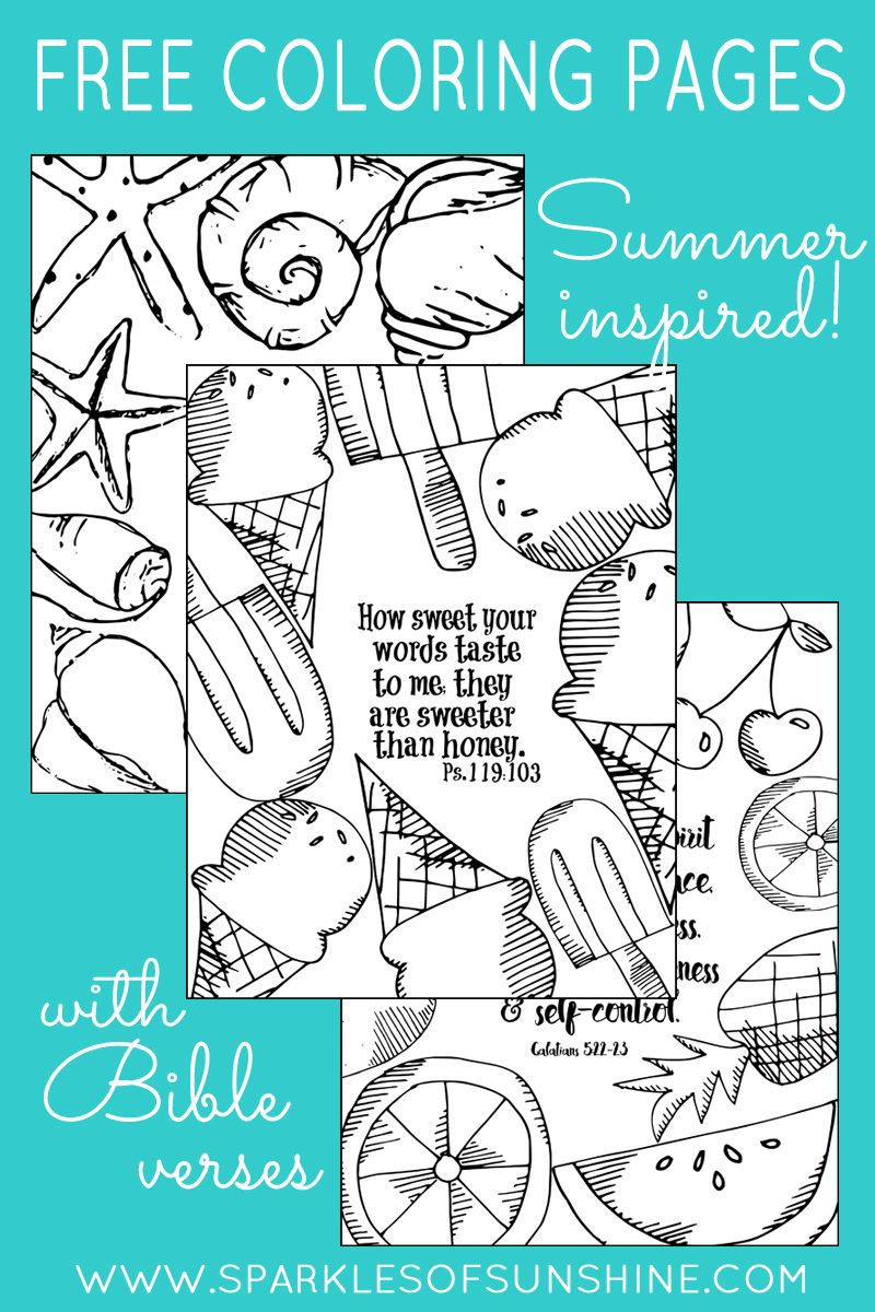 Summer Inspired Free Coloring Pages With Bible Verses   Actividades ...