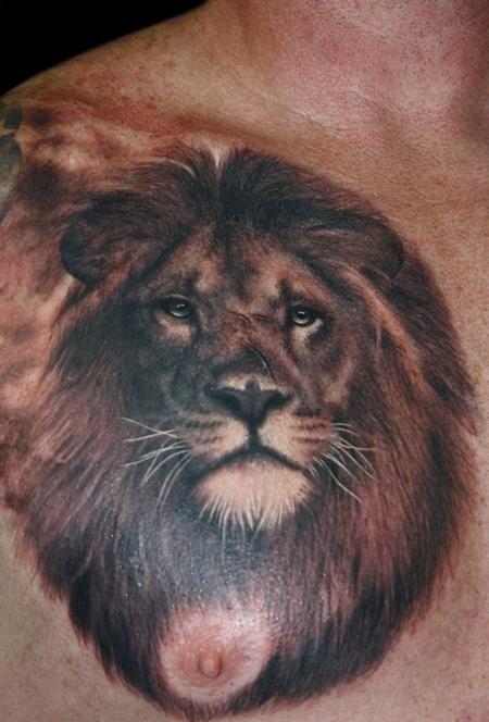 62cf6712e Tattoos - Francisco Sanchez - Lion | ideas for bruce tattoo ...