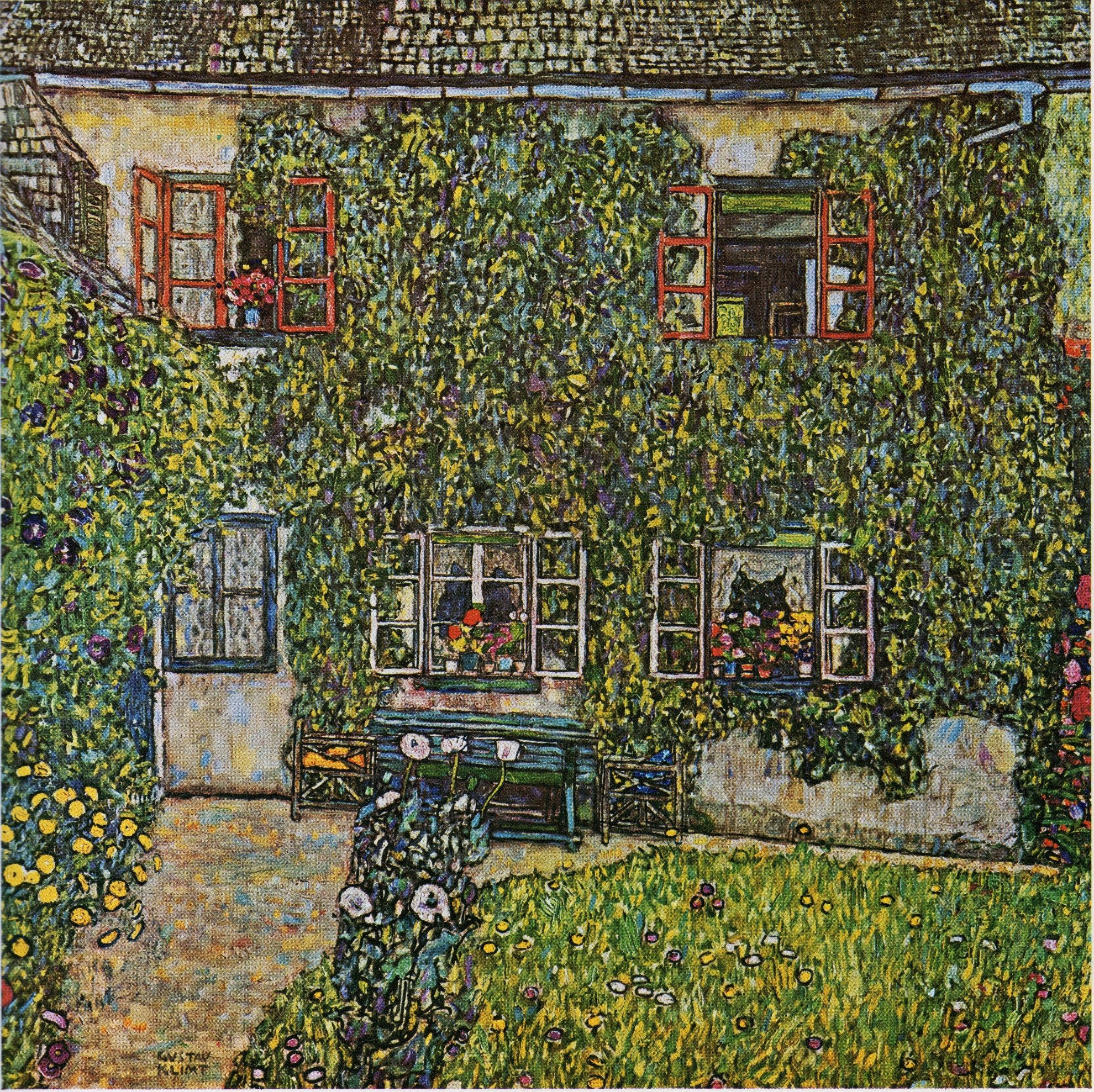 """Gustav Klimt : """"La casa del guardabosques"""". Öleo sobre lienzo, 110 x110. Colección privada EEUU"""