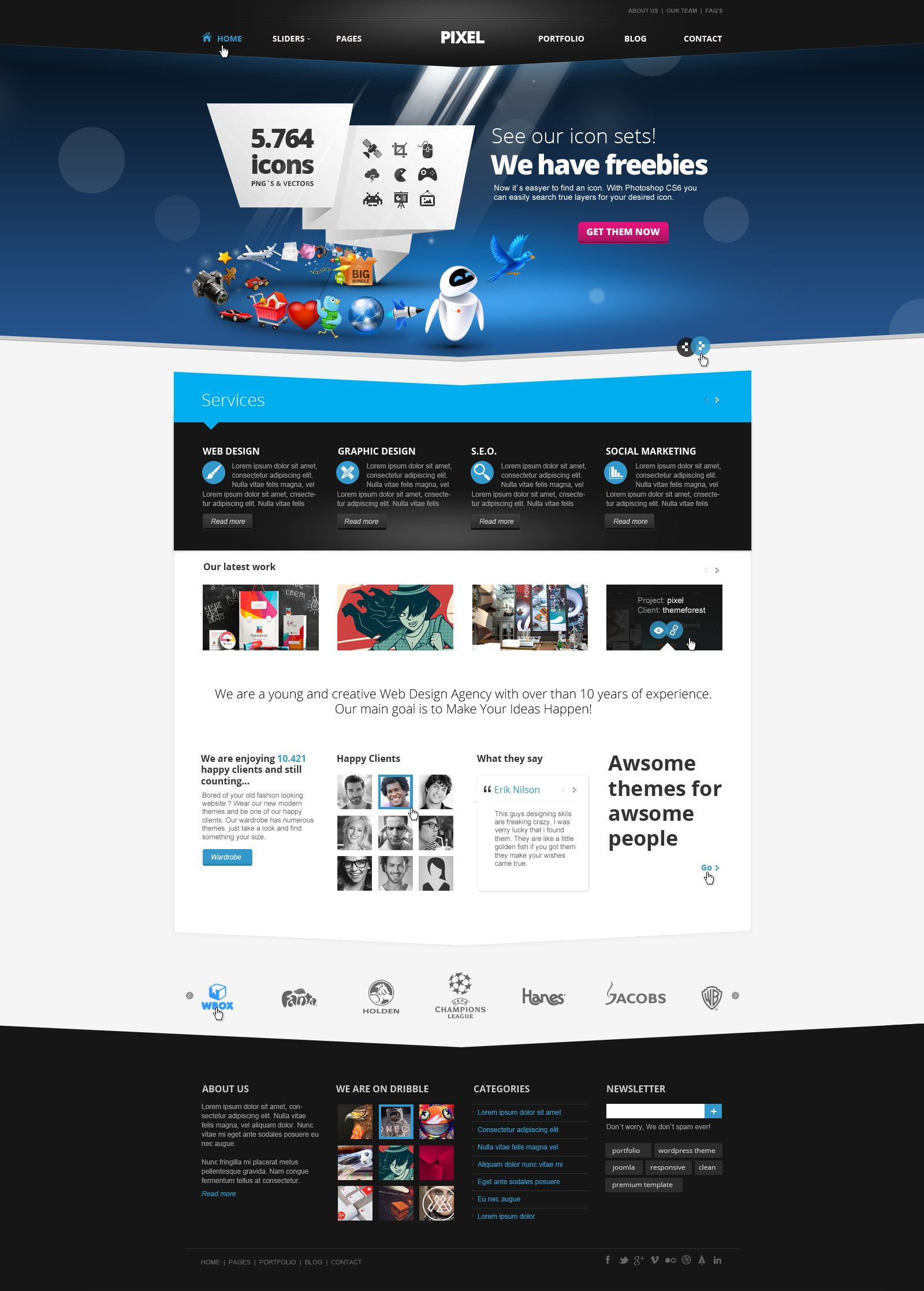 Pixel Studio   Premium Website Template   Light by *DaJyDesigns on
