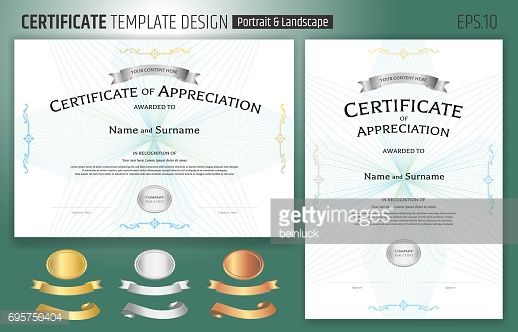 Vector Art  Set Of Portrait And Landscape Certificate Of