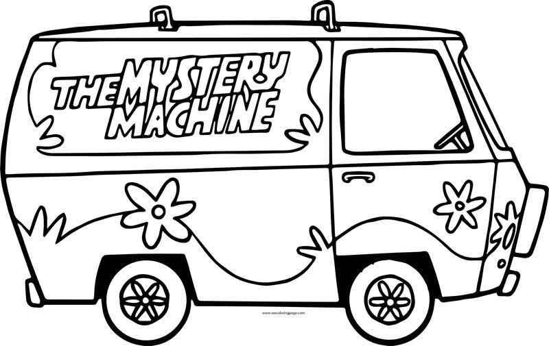 The Scooby Doo Mystery Machine Car Side Coloring Page Scooby